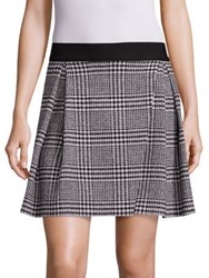 Alice Olivia Cindie Glen Plaid Mini Skirt Black Cream