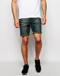 Asos Denim Shorts In Skinny With Green Tint Green