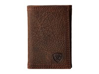 Ariat Shield Triple Stitch Trifold Wallet Brown Oil Rowdy Wallet