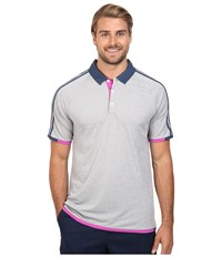 Adidas Climachill 3 Stripes Competition Polo Medium Grey Heather Mineral Blue Men's Clothing Medium Grey Heather Mineral Blue