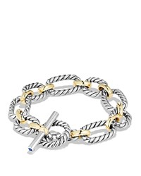 David Yurman Cushion Chain Link Bracelet With Blue Sapphires And 18K Gold Silver Gold