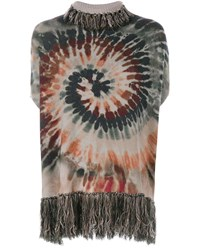 Valentino Tie Dye Cashmere Fringe Poncho Multi Coloured Black