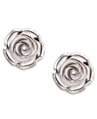 Macy's Sterling Silver Earrings Cultured Tahitian Mother Of Pearl Flower Stud Earrings 18Mm Gray