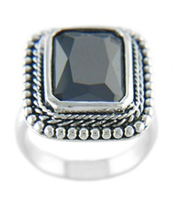 Lord And Taylor Black Cubic Zirconia Ring Silver