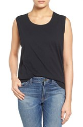 Women's Madewell 'Whisper' Cotton Muscle Tank True Black