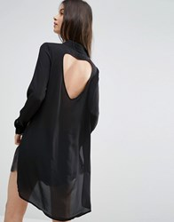Vero Moda Petite Shirt Dress With Slits And Keyhole Back Black