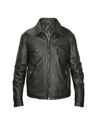 Forzieri Men's Black Leather Zip Jacket