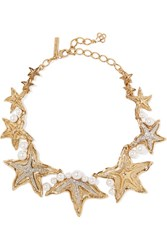 Oscar De La Renta Sea Star Gold And Silver Tone Swarovski Crystal And Pearl Necklace