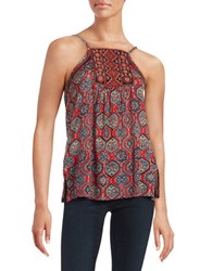 Lucky Brand Embroidered Print Tank Red Multi