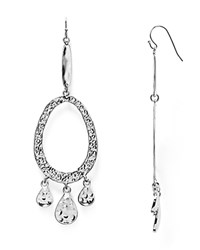 Aqua Diana Hammered Drop Earrings Silver