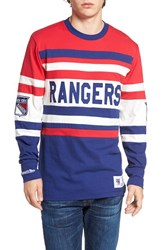Mitchell And Ness Men's Rangers Open Net Pullover