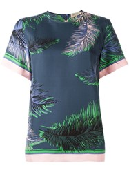 Emilio Pucci Feather Print T Shirt Blue