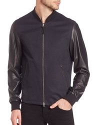Mackage Waris Mixed Media Leather Jacket Navy