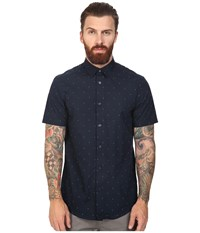 Ben Sherman Short Sleeve Double Triangle Print Woven Staples Navy Men's Short Sleeve Button Up Black