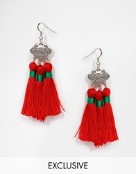 Reclaimed Vintage Tassel And Stamp Earrings Red