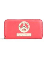 Love Moschino Peace Symbol Zip Around Wallet Red