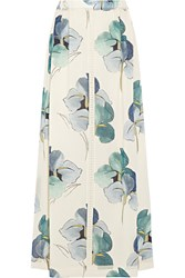 Tory Burch Kendra Floral Print Stretch Silk Georgette Maxi Skirt White