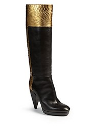 Lanvin Metallic Python And Leather Knee High Boots Gold