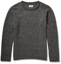 Nudie Jeans Vladimir Melange Wool Blend Sweater Gray
