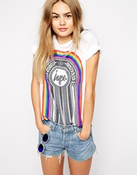 Hype Oversized T Shirt With Rainbow Drip Logo White