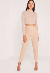 Missguided Buckle Detail Crepe Trouser Nude Pink