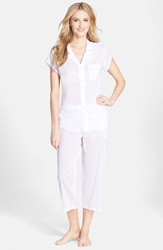 Eileen West 'Sea Mist' Swiss Dot Cotton Pajamas White