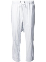 Bassike Striped Drop Crotch Trousers White