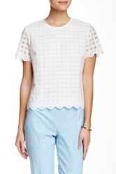 J.Mclaughlin Lotus Short Sleeve Embroidered Blouse White