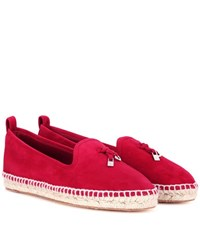 Loro Piana My Charms Suede Espadrilles Red