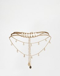Aldo Blackfalds Choker Multirow Necklaces Gold