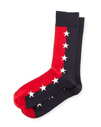 Star Print Colorblock Socks Blue Red Men's Gray Blue Jonathan Adler