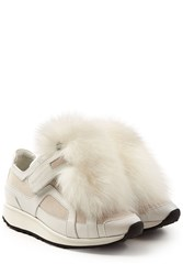 Pierre Hardy Platform Leather Sneakers With Fox Fur White