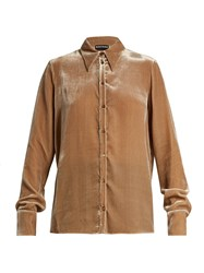 Rochas Point Collar Velvet Shirt Light Beige