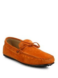 Tod's Suede City Gommini Lace Up Drivers Orange