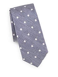 Saks Fifth Avenue Polka Dot Silk And Linen Tie Blue
