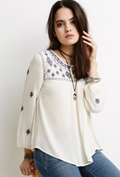 Forever 21 Southwestern Embroidered Peasant Top Cream Blue