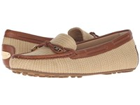 Michael Michael Kors Daisy Moc Natural Luggage Straw Vachetta Women's Slip On Shoes Brown