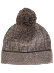 Fendi Knitted Monogram Beanie Nude And Neutrals