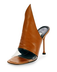 Balenciaga Peaked Leather Mule Pump Camel Carame