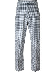 E. Tautz Pintuck Gingham Trousers Blue