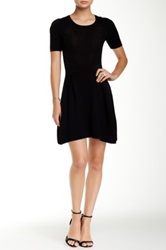 Central Park West Ribbed Fit And Flare Dress Black