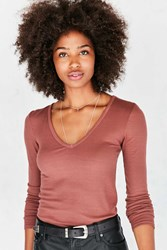 Truly Madly Deeply Eclipse V Neck Tee Brown