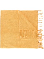 Al Duca D'aosta 1902 Fringed Knitted Scarf Yellow And Orange
