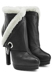 Alexander Mcqueen Leather Ankle Boots With Sheepskin Lining Black