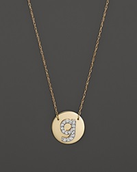Jane Basch 14K Yellow Gold Circle Disc Pendant Necklace With Diamond Initial 16