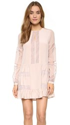 Bcbgmaxazria Silk Dress With Lace Detail Bare