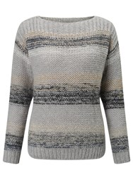 Numph Charlie Stripe Jumper Grey Melange