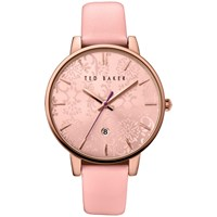 Ted Baker Te10030693 Katie Damask Floral Leather Strap Watch Pink
