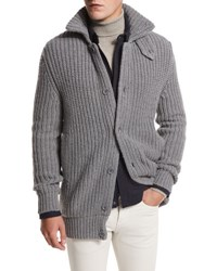 Loro Piana Sun Peaks Cashmere Wool Long Cardigan Iron Gray Melange Iron Grey Mel Cay