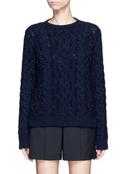Valentino Embellished Virgin Wool Cashmere Sweater Blue